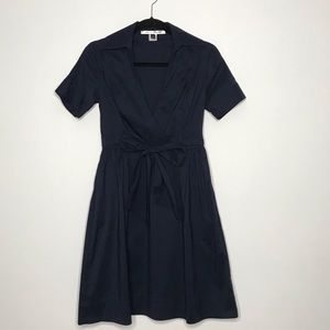 Diane Von Furstenberg Tie Waist Dress Navy Blue 4